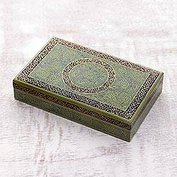 Wood jewelry box, 'Kashmir Flora' - Hand-Painted Wood and Papier Mache Jewelry Box from INdia