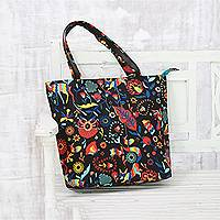 Cotton tote, 'Psychedelic Nature' - Psychedelic Floral Cotton Tote Handbag from India