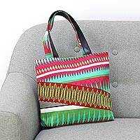 Leather accent cotton tote, 'Creative Symphony' - Cotton and Leather Accent Geometric Tote Handbag
