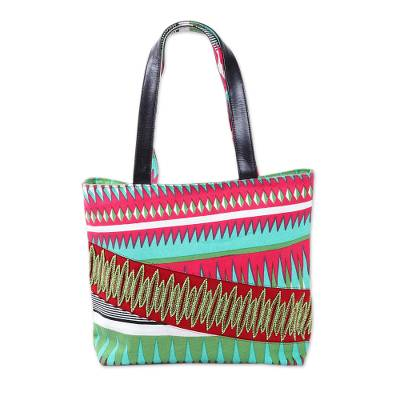 Cotton and Leather Accent Geometric Tote Handbag