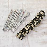 Recycled paper pencils, 'Eco-Friendly Writer' - Set of 10 Recycled Paper Pencils and Pouch from India