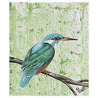 'Kingfisher Delight' - Signed Realist Painting of a Kingfisher Bird from India