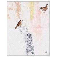 'Love Birds' - Signed Modern Painting of Two Birds from India