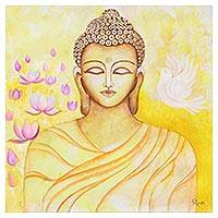 'Peaceful Buddha' - Signed Expressionist Painting of Buddha in Yellow from India