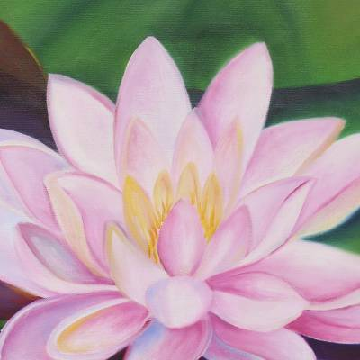 'Lotus Splendor' - Signed Realist Painting of Lotus Flowers from India