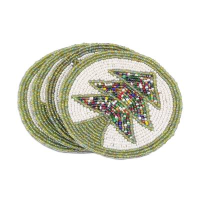 Green and White Tree Motif Beaded Felt Coasters (Set of 4)