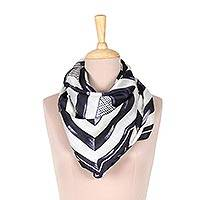 Silk scarf, 'Triangle Symphony in Navy' - Hand-Painted Indigo and White Geometric Triangle Silk Scarf