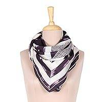 Silk scarf, 'Triangle Symphony in Eggplant' - Hand-Painted Eggplant White Geometric Triangle Silk Scarf