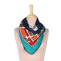Silk scarf, 'Vibrant Mosaic' - Hand-Painted Multi-Colored Vibrant Mosaic Silk Wrap Scarf