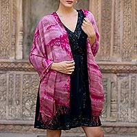 Featured review for Tie-dyed cotton shawl, Ruby Tides