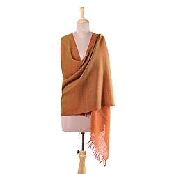 Wool shawl, 'Magnificent Illusion' - Handwoven Fringed Wool Shawl in Orange from India