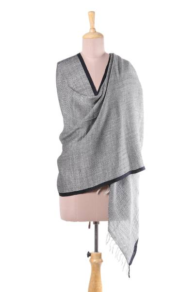 Cotton and wool blend shawl, 'Midnight in Uttarakhand' - Handwoven Grey Cotton and Wool Blend Shawl from India