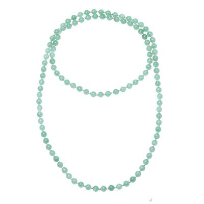 Sterling Silver and Green Quartz Beaded Necklace from India