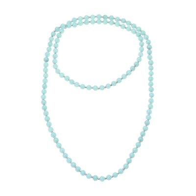 Indian Sterling Silver and Quartz Beaded Necklace in Aqua