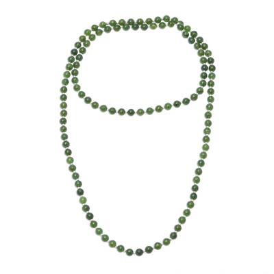 Indian Quartz and Silver Beaded Necklace in Dark Green