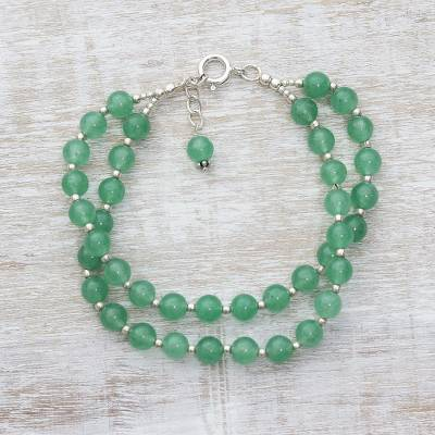 Quartz beaded bracelet, 'Felicity in Green' - Double Stranded Silver and Green Quartz Beaded Bracelet