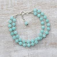Quartz beaded bracelet, 'Felicity in Aqua' - Indian Two Strand Quartz and Silver Beaded Bracelet in Aqua