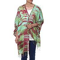 Cotton shawl, 'Cosmic Waves' - Red Green and Aqua Tie Dyed Cotton Shawl with Fringe
