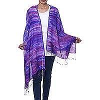 Tie-dyed silk and wool blend shawl, 'Ultramarine Beauty' - Purple and Blue Tie-Dyed Silk Wool Blend Shawl with Fringe