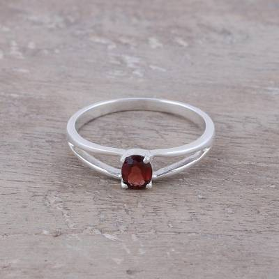 Garnet solitaire ring, 'Fiery Solitaire' - Natural Garnet Solitaire Ring from India