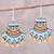 Ceramic dangle earrings, 'Bright Sky' - Hand-Painted Sky Blue and Golden Ceramic Dangle Earrings thumbail
