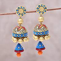Ceramic dangle earrings, 'Festive Glamour' - Hand-Painted Festive Glamour Jhumka Ceramic Earrings