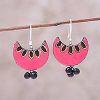 Ceramic dangle earrings, 'Pink Crescent' - Pink and Black Crescent Moon Ceramic Dangle Earrings