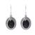 Onyx dangle earrings, 'Shadow Dream' - Black Onyx and Sterling Silver Oval Dangle Earrings (image 2a) thumbail
