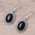 Onyx dangle earrings, 'Shadow Dream' - Black Onyx and Sterling Silver Oval Dangle Earrings (image 2b) thumbail