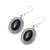 Onyx dangle earrings, 'Shadow Dream' - Black Onyx and Sterling Silver Oval Dangle Earrings (image 2c) thumbail
