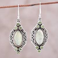 Prehnite and peridot dangle earrings, 'Glamour in Green' - Green Peridot and Prehnite Silver Marquise Dangle Earrings