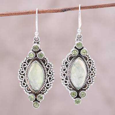 Prehnite and peridot dangle earrings, Glamour in Green