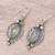 Prehnite and peridot dangle earrings, 'Glamour in Green' - Green Peridot and Prehnite Silver Marquise Dangle Earrings (image 2b) thumbail