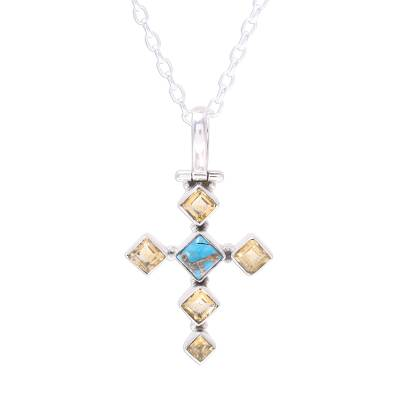 Citrine and Composite Turquoise Cross Pendant Necklace