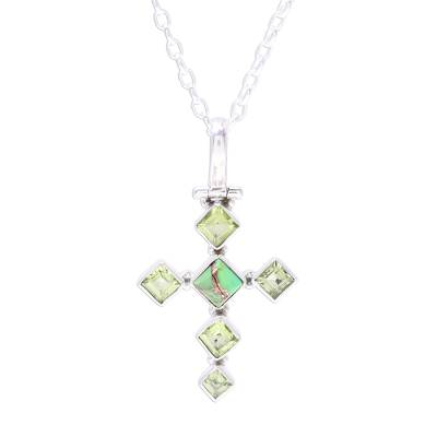 Peridot and Composite Turquoise Cross Pendant Necklace
