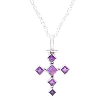 Amethyst and Composite Turquoise Cross Pendant Necklace