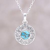 Sterling silver pendant necklace, 'Elegant Sea' - Composite Turquoise Sterling Silver Round Pendant Necklace