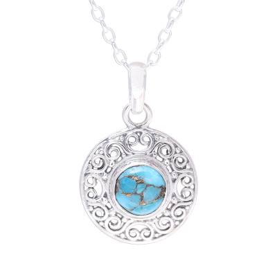 Composite Turquoise Sterling Silver Round Pendant Necklace