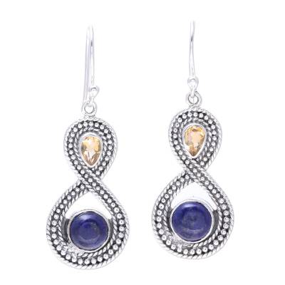 Citrine and Lapis Lazuli Sterling Silver Dangle Earrings