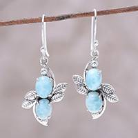 Larimar dangle earrings, 'Sky Flower Duo' - Larimar Ovals and Sterling Silver Leaves Dangle Earrings