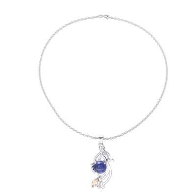 Lapis Lazuli and Citrine Sterling Silver Pendant Necklace