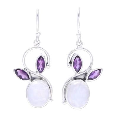 Rainbow Moonstone Amethyst Sterling Silver Dangle Earrings