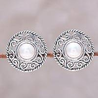 Cultured pearl button earrings, 'Crowned Moonlight' - Cultured Pearl Sterling Silver Scrollwork Button Earrings
