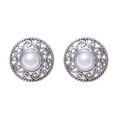 Cultured Pearl Sterling Silver Scrollwork Button Earrings