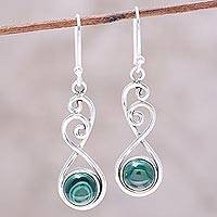 Malachite dangle earrings, 'Meadow Dance' - Round Malachite in Sterling Silver Swirls Dangle Earrings