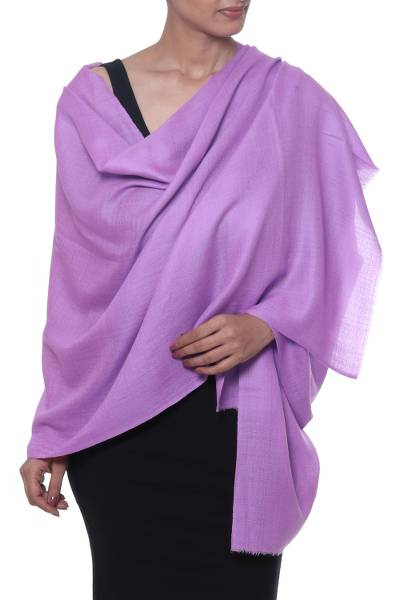 Cashmere and silk blend shawl, 'Kashmir Dreams in Amethyst' - Hand Woven Purple Cashmere and Silk Blend Shawl from India