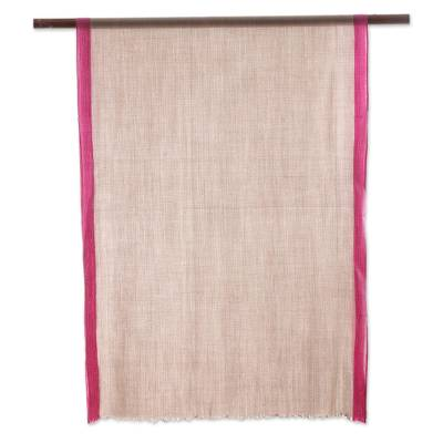 Cashmere and silk blend shawl, 'Luxurious Aura' - Hand Woven Cashmere and Silk Blend Shawl from India