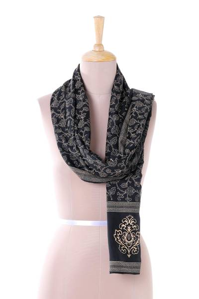 Silk scarf, 'Midnight Blooms' - Artisan Made Black and Beige Block Print Floral Silk Scarf