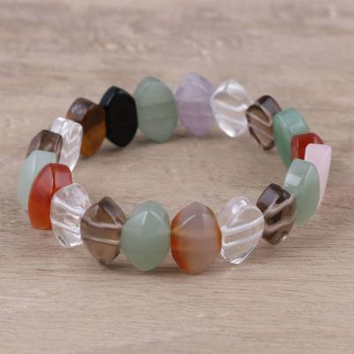 Multi-gemstone beaded stretch bracelet, 'Memories of Spring' - Multi-Gemstone Beaded Stretch Bracelet from India