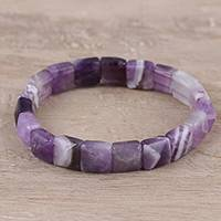 Agate beaded stretch bracelet, 'Divine Purple' - Handmade Purple and White Agate Beaded Stretch Bracelet